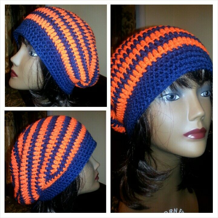 Crochet Slouchy Beanie in the Chicago Bears colors.... I mean, Denver Broncos colors.