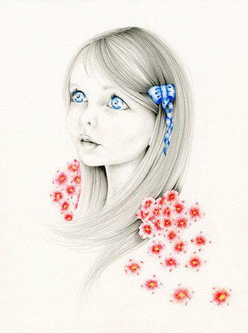 Custom Portrait Whimsical Fantasy Portrait an Original Pencil Drawing & Illustration Fine Art