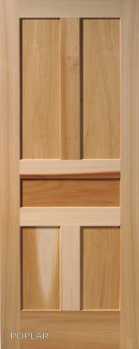 5 Panel Poplar Flat Shaker Mission Stain Grade Solid Core Interior Wood Doors And