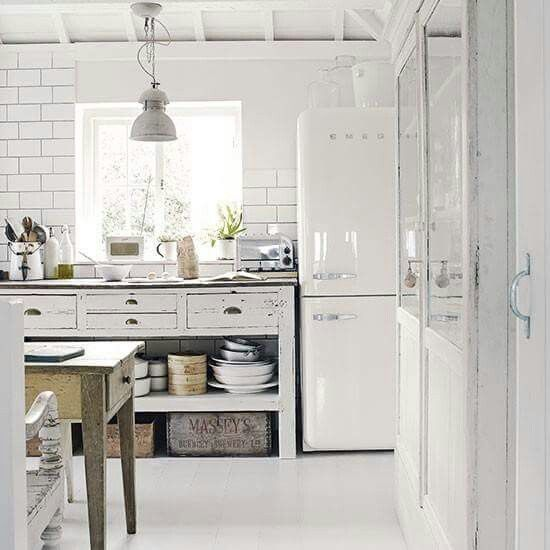 Rustic country style white kitchen