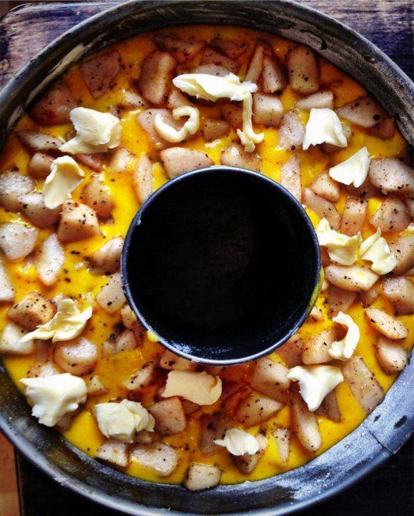 Saffranskaka med päron och kardemumma - saffron-cake with cardamom-pears