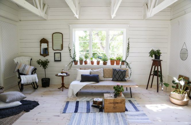 Living room in a charming summer house in Sweden