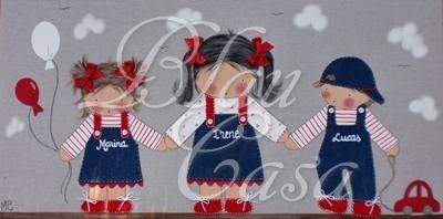 NOVEDADES DEL DIA!!!Lienzos infantilesLienzo infantil 80x40 fondo de lino, personalizado para tres hermanitos