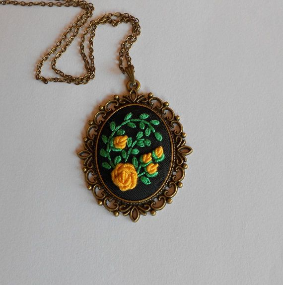 Yellow Floral Necklace Statement Necklace by RedWorkStitches