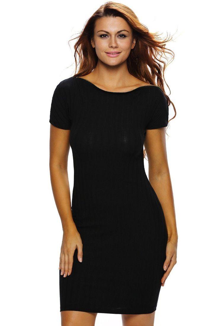 Robes Moulante Midi Noire Fermeture Eclair Cou de Barre Oblique Pas Cher www.modebuy.com @Modebuy #Modebuy #Noir #style #mode #styles