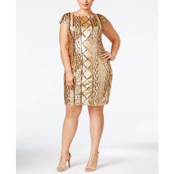 Adrianna Papell Plus Size Sequin Sheath Dress ($199) ❤ liked on Polyvore featuring plus size women's fashion, plus size clothing, plus size dresses, gold, plus size white cocktail dress, plus size white dress, white dress, gold plus size dress and sequin cocktail dresses