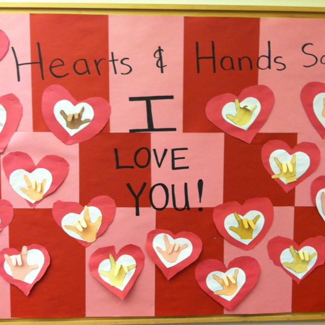 Valentines day bulletin board: sign language hands say I love you