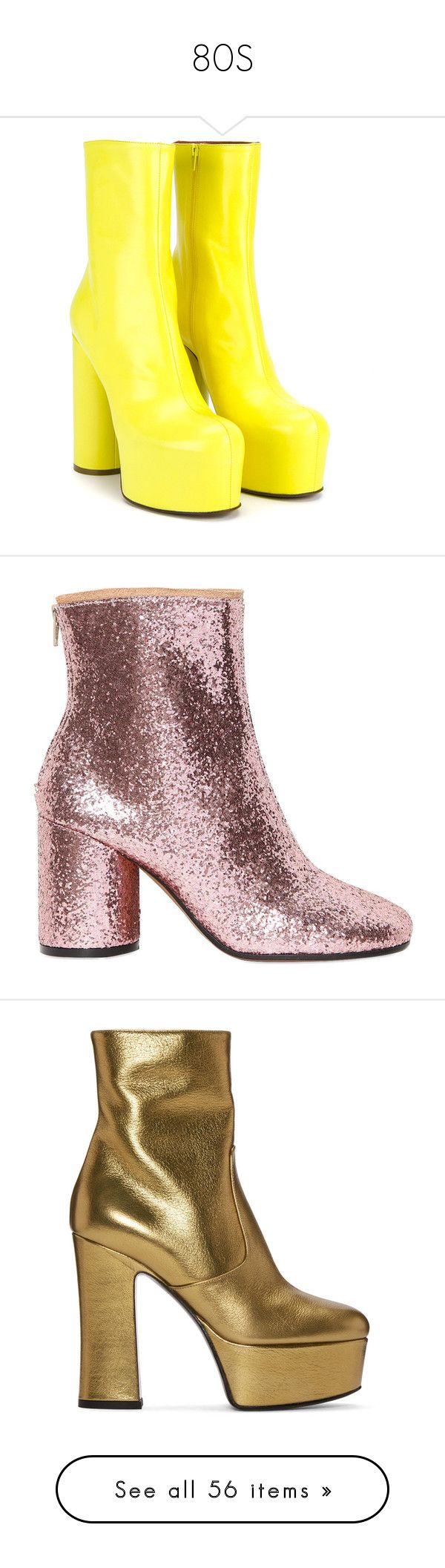 """""""80S"""" by rosavage01 ❤ liked on Polyvore featuring shoes, boots, ankle booties, vetements, canary yellow, platform bootie, zip ankle boots, leather ankle boots, zipper ankle boots and platform ankle boots"""