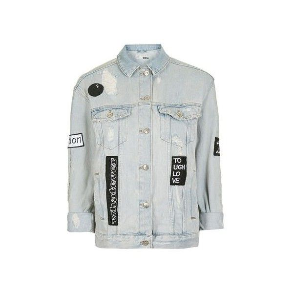 TopShop Moto Black & White Badge Jacket found on Polyvore featuring outerwear, jackets, bleach stone, bleached denim jacket, denim jacket, oversized jean jacket, white and black jacket and oversized jackets