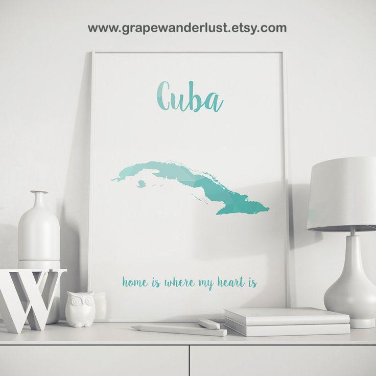 Cuba poster Cuba map Cuban art Gift for bithday by GrapeWanderlust