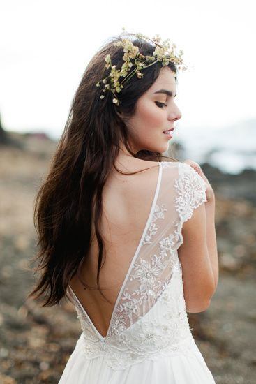 Love the back of this wedding gown by Sally Eagle // Photo by Benjamin + Elise.