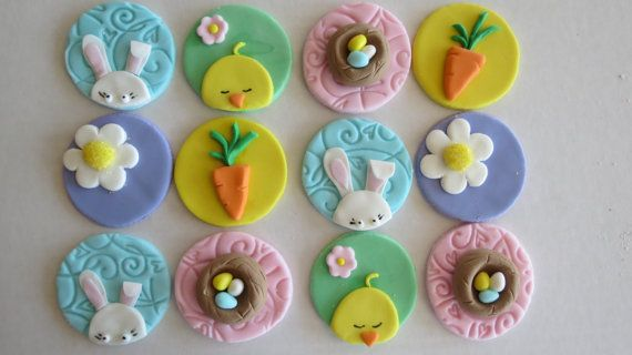 12 Fondant Easter Cupcake toppers EDIBLE by FrostItBakery on Etsy, $24.49