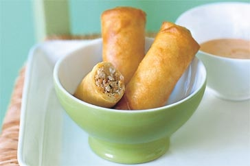 Chicken and Thai basil spring rolls with sweet-chilli mayonnaise