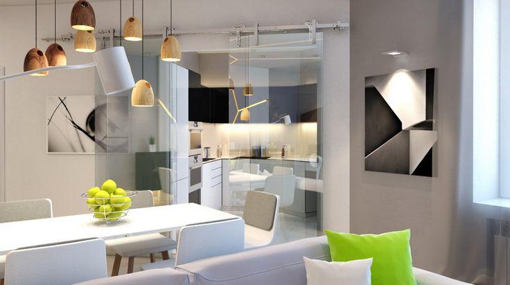кухня-студия, столовая, гостиная, гостиная в стиле минимализм, квартира в стиле минимализм