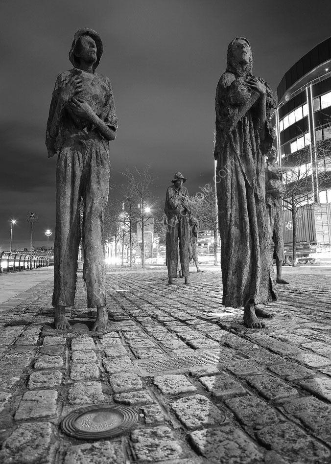 Famine Memorial, Docklands, Dublin, Ireland.