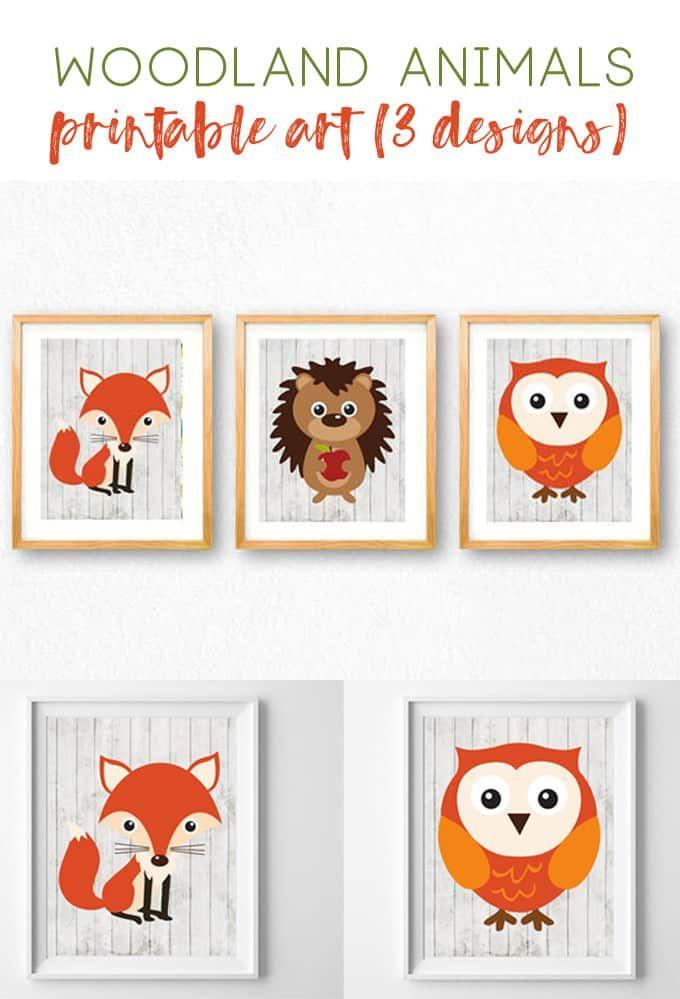 Woodland Animals Nursery Art Nursery Decor Wall Art Animals Printables Free Printables Fox Owl He Nursery Art Free Nursery Art Printable Nursery Art