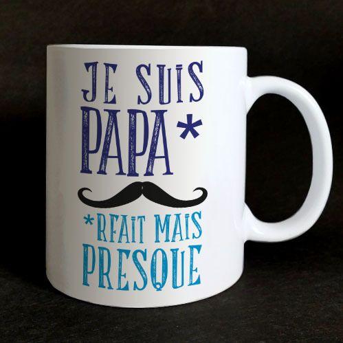 """Mug """"Je suis paparfait mais presque"""" pour cadeau fête des pères, naissance, anniversaire, Noël"""