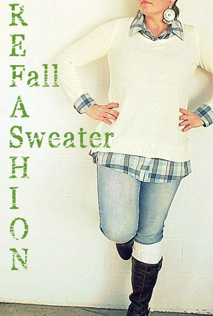 Fall Sweater Refashion - Make a long sweater from a short shirt