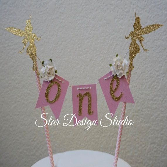 """Tinkerbell Cake topper """"One""""  Fairy Pink  and Gold  Cake Topper Birthday bunting- Glitter Gold, Any age and name available"""