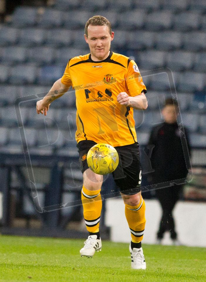 Annan Athletic's Peter Weatherston on the ball during the SPFL League Two game between Queen's Park and Annan Athletic.