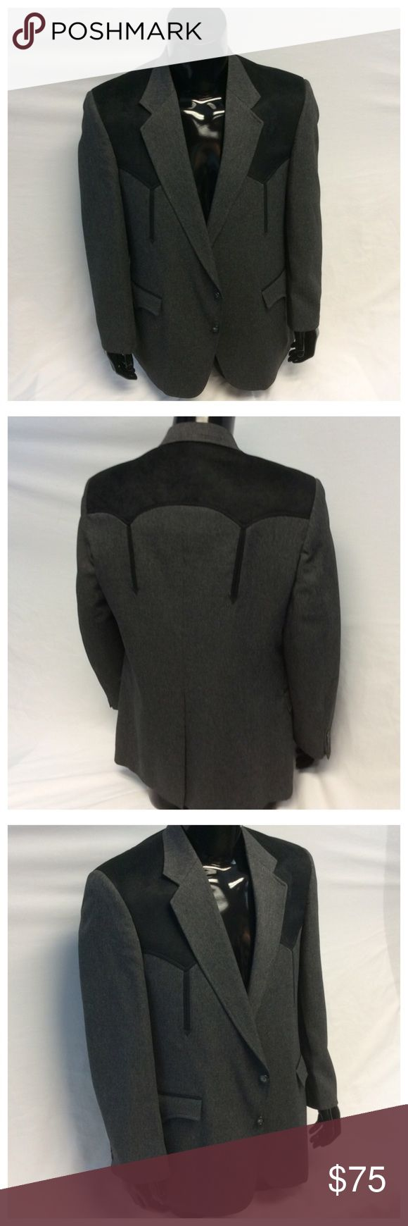 """CIRCLE S MENS BLACK SUIT JACKET CIRCLE S MENS BLACK WESTERN STYLE SUIT JACKET, Size 44R, 100% polyester, lining is 100% acetate, dry clean. Approximate measurements are 18 1/2"""" shoulder seam to shoulder seam, 23"""" arm pit to arm pit, 31"""" shoulder to hem, 24 1/2"""" sleeve from shoulder to end of sleeve, 10 1/2"""" slit. M012 Circle S Suits & Blazers"""