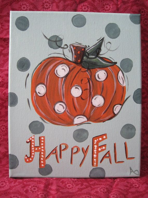 Happy Fall 8x10 Original Canvas Painting By Betsmay On Etsy 2000