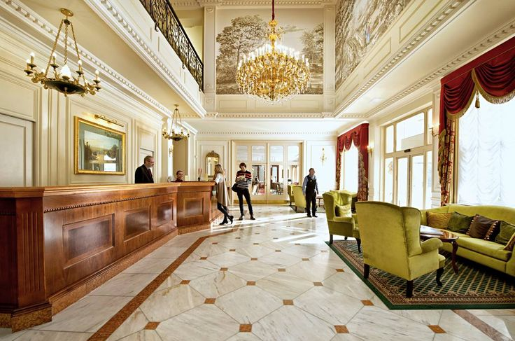 Design of the interior, project of stucco decoration, color and style solutions of the Hotel Hall with surrounding corridors. Design and decoration of the hotel lounge interior.  Supply of lighting and accessories.  #KarlovyVary #Karlsbad