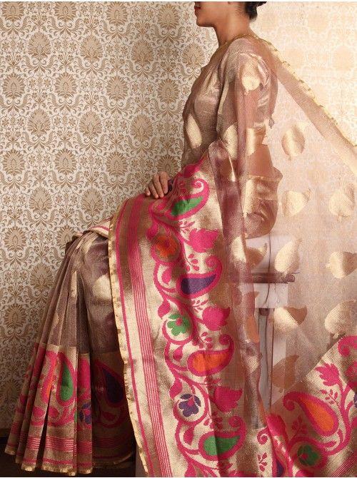 Brown Cutwork Tissue Resham Saree