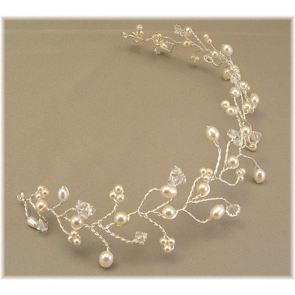 Ivory Cream Pearl Wedding Gown Tiara Hair Vine Tiaras Ivory Pearl... (84 SGD) ❤ liked on Polyvore featuring accessories, hair accessories, grey, weddings, bridal hair accessories, bridal hair pins, bridal tiara, pearl bridal tiara and swarovski crystal hair accessories