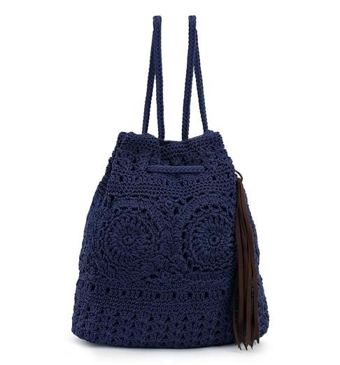 A new and exciting shape for the season, the Sayulita Backpack is adjustable and casual. In solid Denim crochet, you can wear this bag with any look!