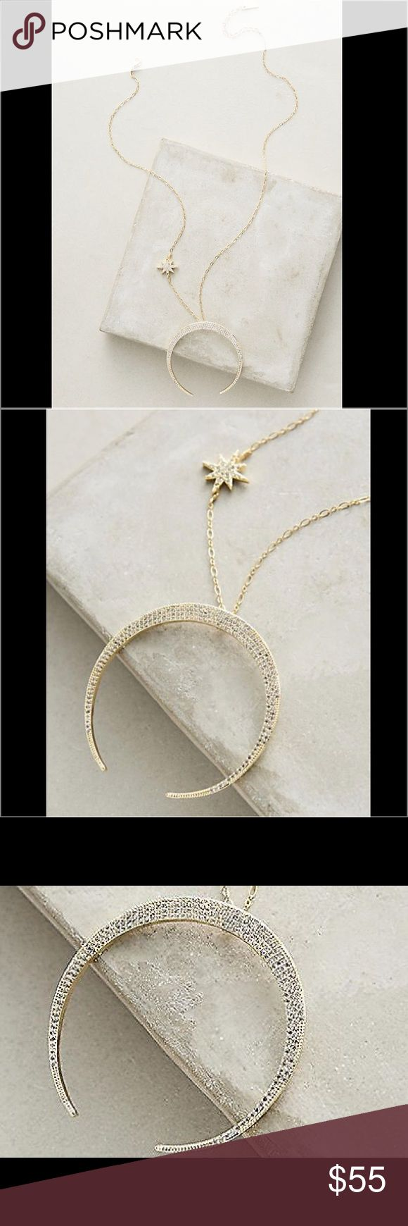"""Anthropologie Moon Star Necklace Lunar Arc Necklace By Serefina Plated zinc alloy, plated brass, rhinestones Lobster clasp 18""""L with 2"""" extender chain 2"""" pendant Anthropologie Jewelry Necklaces"""