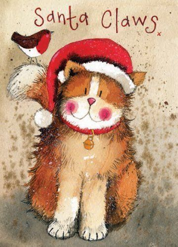 awesome Alex Clark Charity Christmas Cards 'Santa Claws' Pack of 5 + 1 Free Alex Clark C...