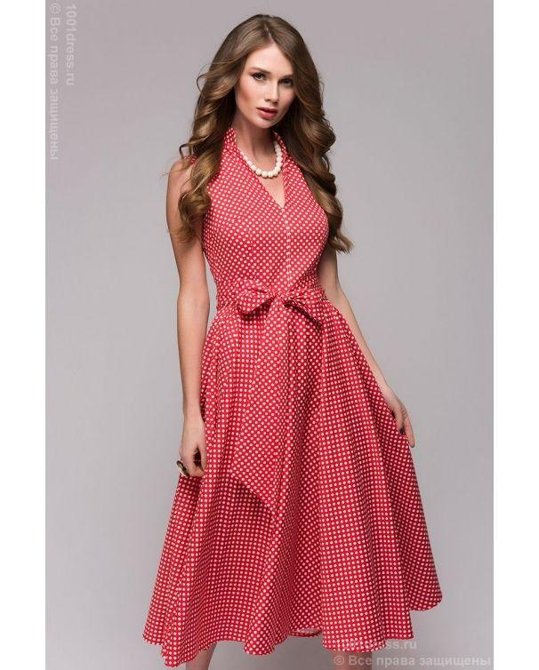 фото Красное платье длины миди в горошек без рукавов