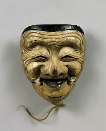 Noh mask, Okina (an old man)  Attributed to Fukurai, one of 47 Noh masks formerly owned by Konparu Sōke (the leading family of the Konparu school), Wood, colored  Muromachi-Meiji period/15-19th century  Originally owned by Konparu-za  Tokyo National Museum.