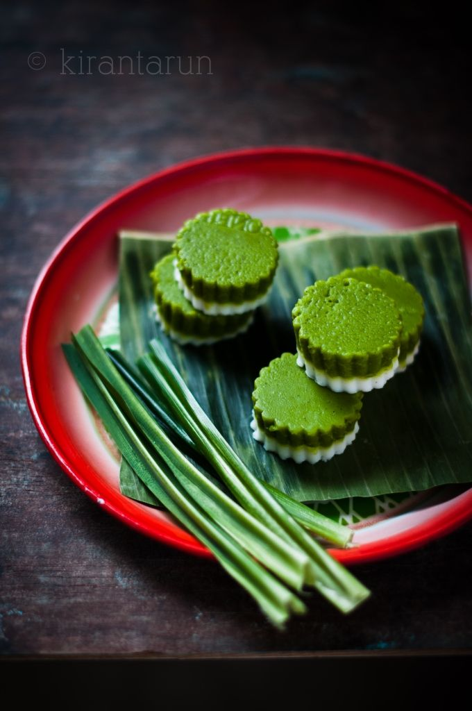 Kuih Talam Malaysian dessert with coconut and pandan greens