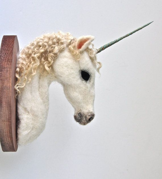 Unicorn Head Wall Mount Felted Faux Taxidermy by Nocik on Etsy, $145.00