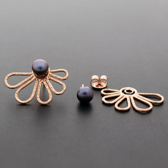 Rose gold ear jacket earrings double sided earrings, 49$, by emmanuelaGR