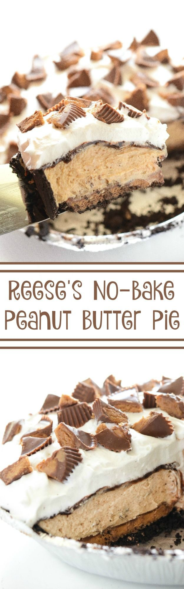 Reese's Peanut Butter No-Bake Pie! It all starts with a chocolate crust and a…