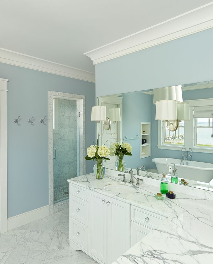 blue and white bathroom   House of Turquoise: Structures Building Company