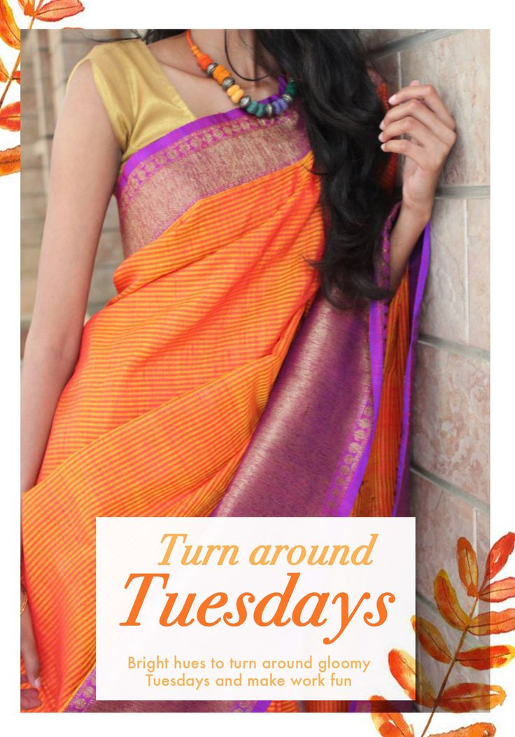 It's just Tuesday!!! Don't just drag through the week. Glam it up with bright colored sarees, only at Ethniq Desi.