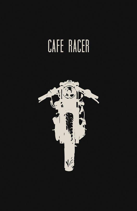 Cafe Racer motos Poster negro 11 x 17 pulgadas por InkedIron