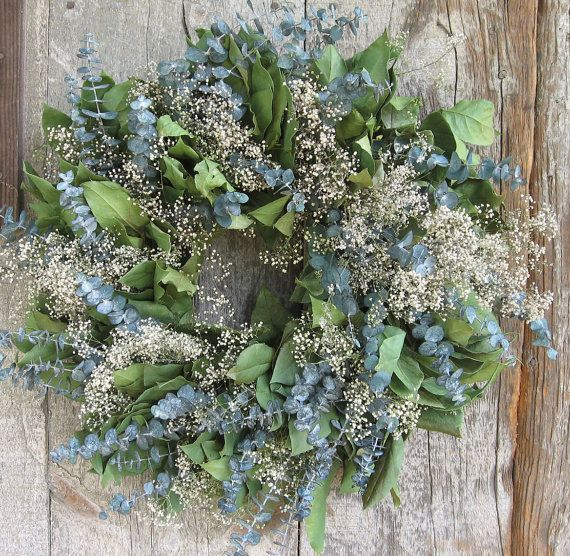 20 inch Lemon Leaf Eucalyptus and Baby's Breath by andreabeitzel, $25.99 (Etsy)