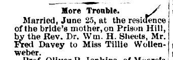 My Trails into the Past: Treasure Chest Thursday - More Trouble – The Marriage of Fred Davey to Tillie Wollenweber* #genealogy