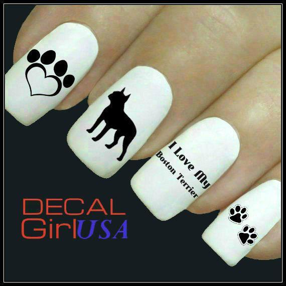 Boston Terrier Nail Art Decals 32 Boston terrier by DecalGirlUSA, $3.99