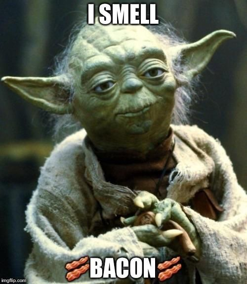 Yoda smells bacon #food #bacon #vintage #vogueteam #voguet #share