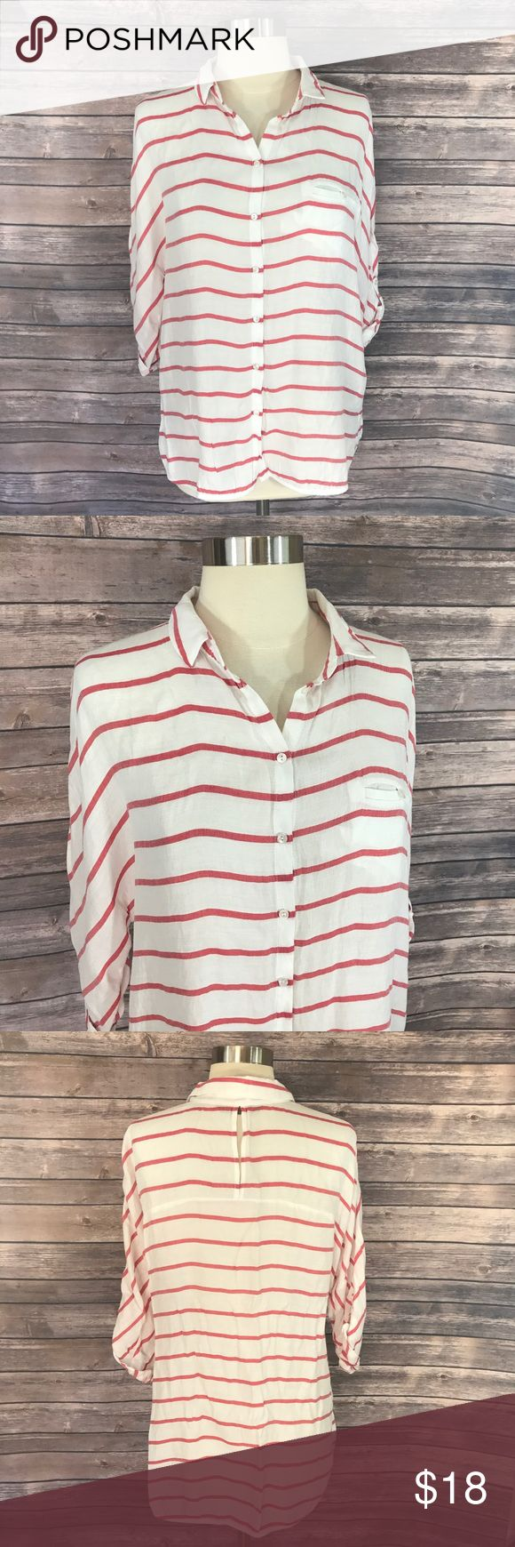 Zara Womens Top Size Medium Button Down Red White Zara Womens Top Size Medium Button Down Red White Striped Shirt Loose Fit. Measurements: (in inches) Underarm to underarm: 21 Length: 30  Good, gently used condition Zara Tops Blouses