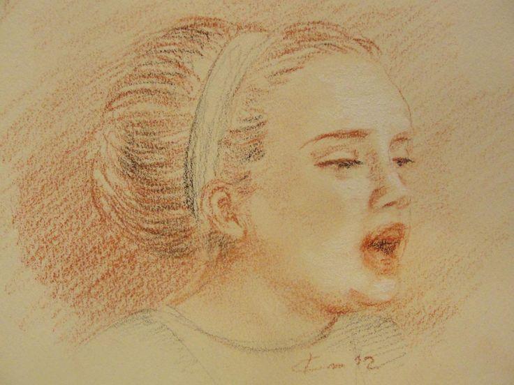 trois crayons   Portrait d'Adèle, dessin (drawing) aux trois crayons, Rolling in the ...