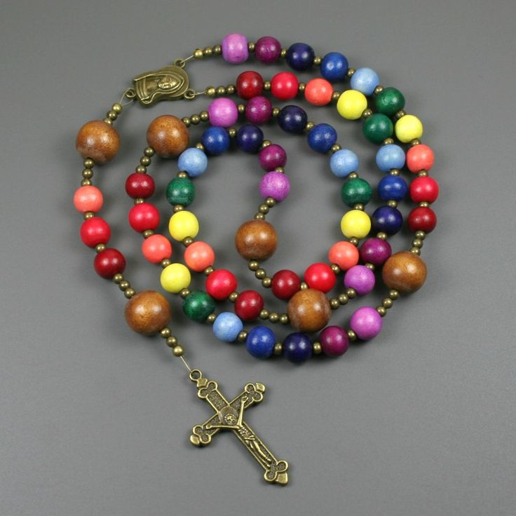 Rainbow wood rosary in the Roman Catholic style, LGBT pride prayer beads from the Earthwear Collection