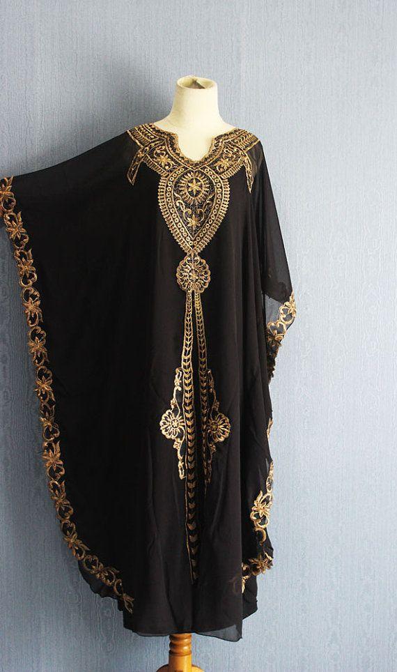 Dress di oversize nero Abito kaftano Plus dimensioni di Yosika