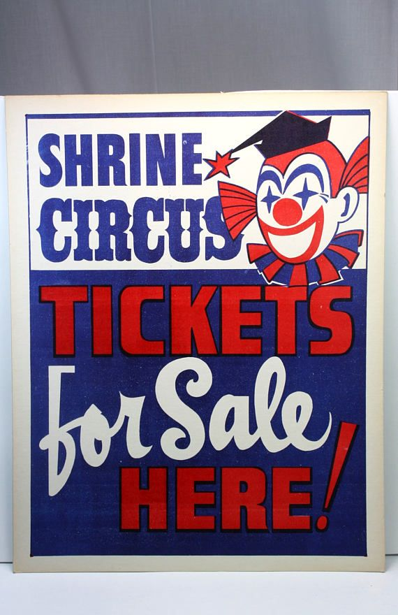 Vintage Shrine Circus Tickets For Sale Clown Sign